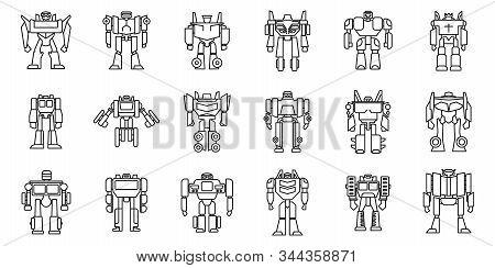 Futuristic Robot-transformer Icons Set. Outline Set Of Futuristic Robot-transformer Vector Icons For