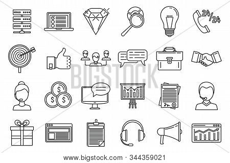 Crm Platform Icons Set. Outline Set Of Crm Platform Vector Icons For Web Design Isolated On White Ba