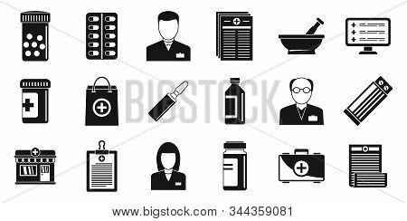 Pharmacist Druggist Icons Set. Simple Set Of Pharmacist Druggist Vector Icons For Web Design On Whit
