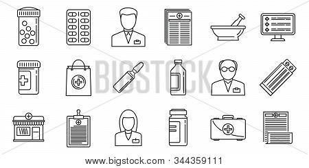 Medical Pharmacist Icons Set. Outline Set Of Medical Pharmacist Vector Icons For Web Design Isolated
