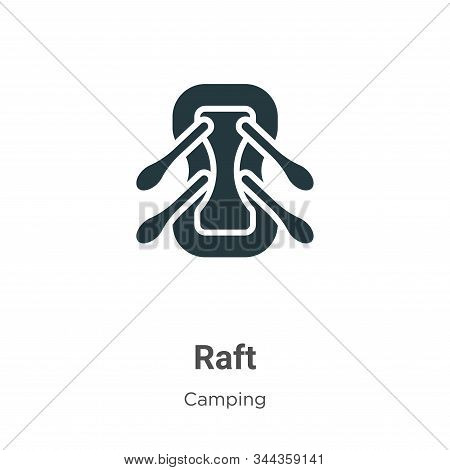 Raft Vector Icon On White Background. Flat Vector Raft Icon Symbol Sign From Modern Camping Collecti