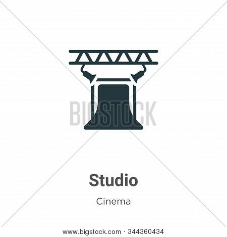 Studio Vector Icon On White Background. Flat Vector Studio Icon Symbol Sign From Modern Cinema Colle