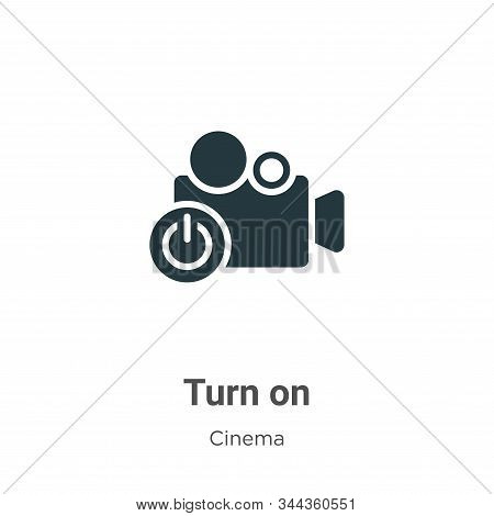 Turn On Vector Icon On White Background. Flat Vector Turn On Icon Symbol Sign From Modern Cinema Col