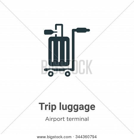 Trip luggage icon isolated on white background from airport terminal collection. Trip luggage icon t