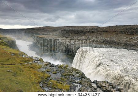 Amazing Iceland landscape at Dettifoss waterfall in Northeast Iceland region. Dettifoss is a waterfall in Vatnajokull National Park reputed to be the most powerful waterfall in Europe.