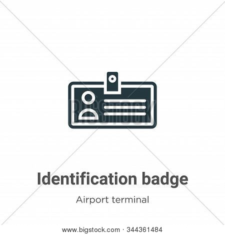 Identification badge icon isolated on white background from airport terminal collection. Identificat