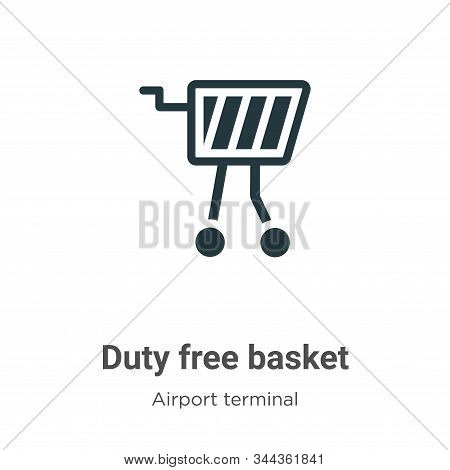 Duty Free Basket Vector Icon On White Background. Flat Vector Duty Free Basket Icon Symbol Sign From