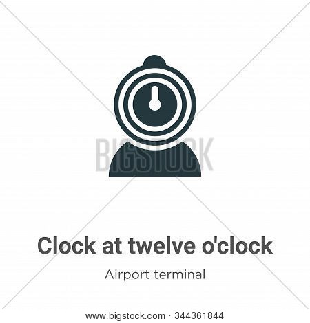 Clock at twelve oclock icon isolated on white background from airport terminal collection. Clock at