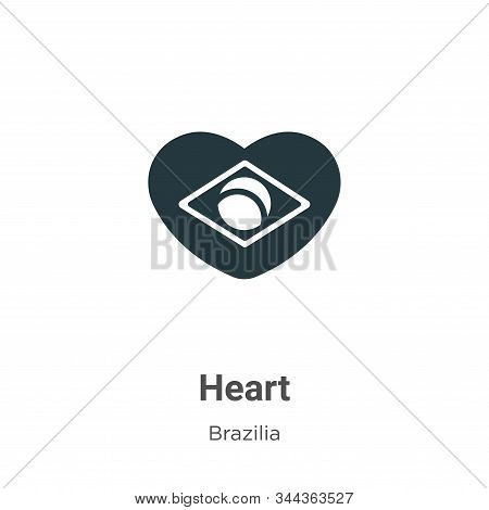 Heart icon isolated on white background from brazilia collection. Heart icon trendy and modern Heart