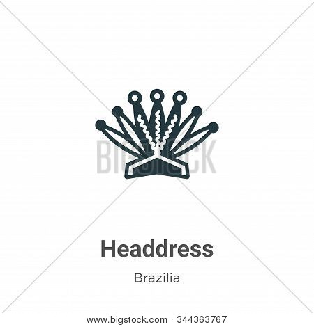Headdress Vector Icon On White Background. Flat Vector Headdress Icon Symbol Sign From Modern Brazil