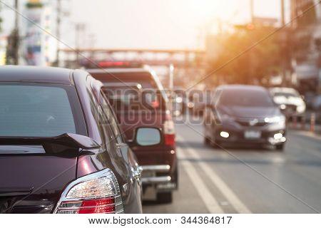 [ Traffic Jam] Car At The Road Traffic Jam, Traffic Jam At Road.background Blurred.