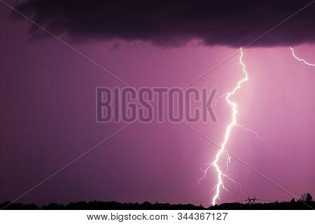 Huge Fork Lightnings And Thunder During Heavy Summer Storm. Night Thunder-storm