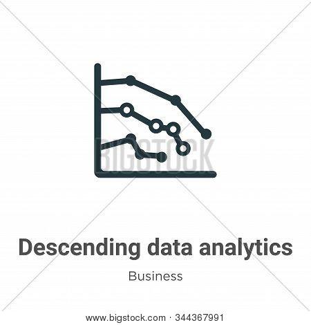 Descending Data Analytics Line Graphic Vector Icon On White Background. Flat Vector Descending Data