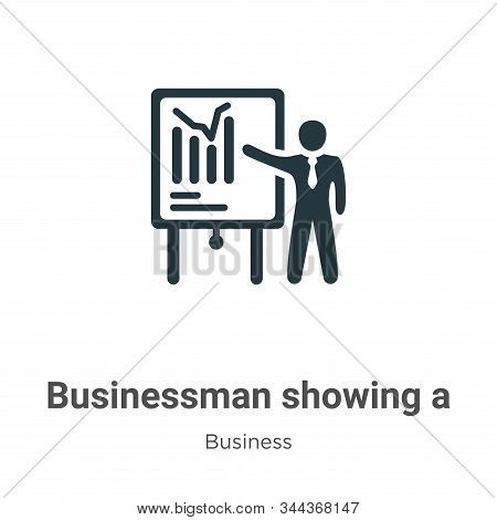 Businessman Showing A Project Sketch Vector Icon On White Background. Flat Vector Businessman Showin