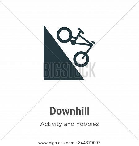 Downhill Vector Icon On White Background. Flat Vector Downhill Icon Symbol Sign From Modern Activiti