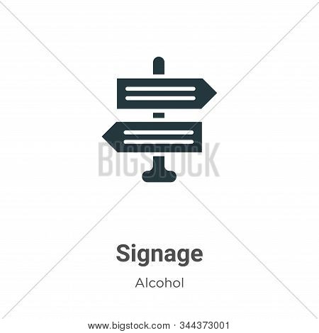 Signage Vector Icon On White Background. Flat Vector Signage Icon Symbol Sign From Modern Alcohol Co