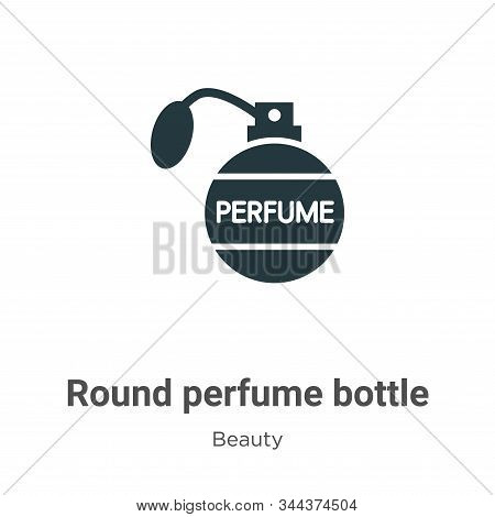 Round perfume bottle icon isolated on white background from beauty collection. Round perfume bottle