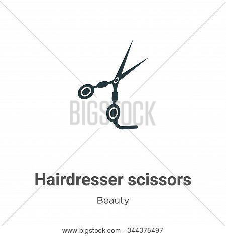 Hairdresser Scissors Vector Icon On White Background. Flat Vector Hairdresser Scissors Icon Symbol S