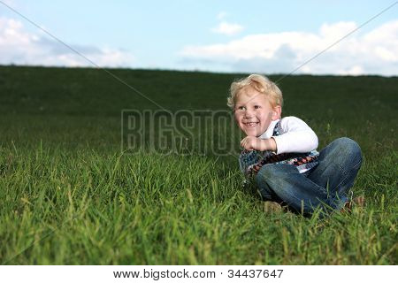 Small Boy Having A Good Laugh