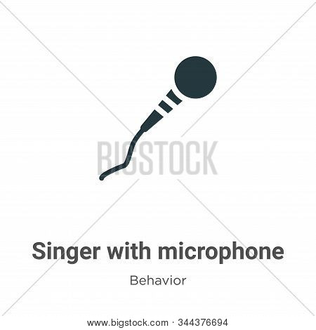 Singer with microphone icon isolated on white background from behavior collection. Singer with micro