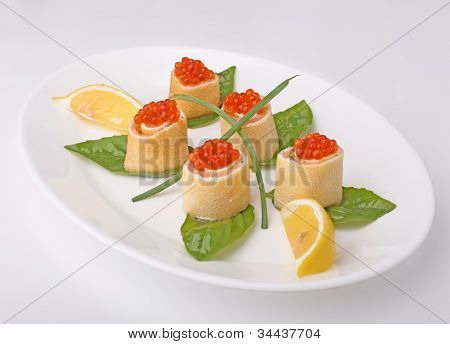 Rolls With Red Caviar