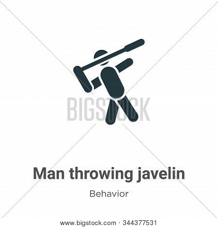 Man Throwing Javelin Vector Icon On White Background. Flat Vector Man Throwing Javelin Icon Symbol S