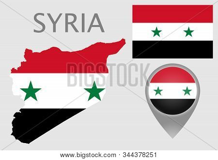 Colorful Flag, Map Pointer And Map Of Syria In The Colors Of The Syrian Flag. High Detail. Vector Il