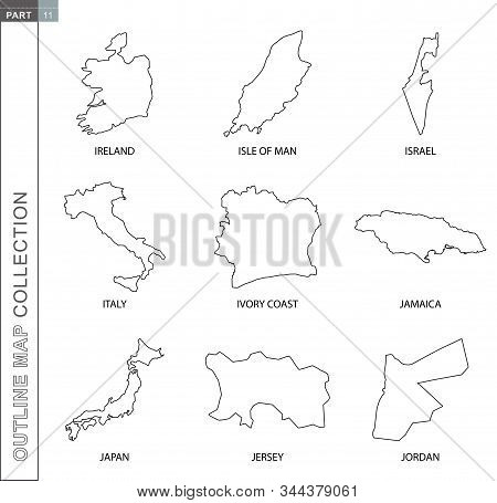 Outline Map Collection, Nine Black Lined Vector Map Of Ireland, Isle Of Man, Israel, Italy, Ivory Co