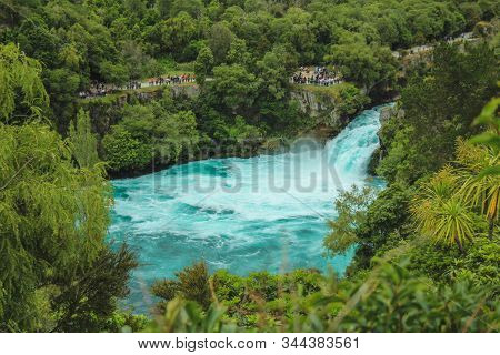 Huka Falls, New Zealand - December 27th 2016: Tourists Watching The Powerful Huka Falls In Taupo On