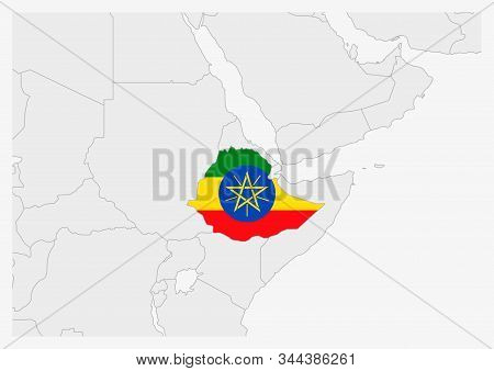 Ethiopia Map Highlighted In Ethiopia Flag Colors, Gray Map With Neighboring Countries.