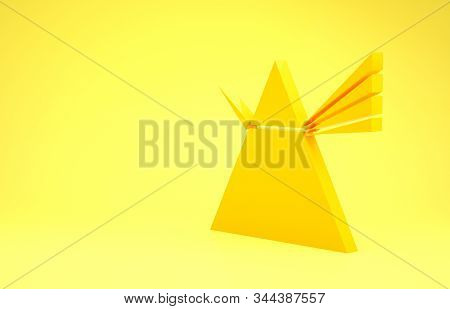 Yellow Light Rays In Prism Icon Isolated On Yellow Background. Ray Rainbow Spectrum Dispersion Optic