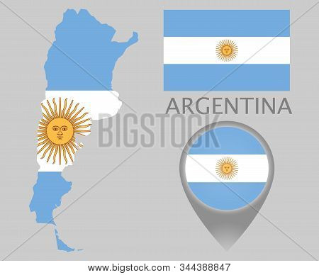 Colorful Flag, Map Pointer And Map Of The Argentina In The Colors Of The Argentine Flag. High Detail