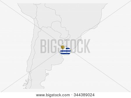 Uruguay Map Highlighted In Uruguay Flag Colors, Gray Map With Neighboring Countries.