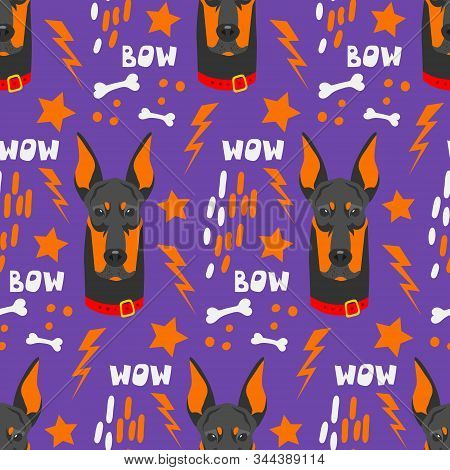 Seamless Pattern For Printing On Fabric, Paper And Other Surfaces. Cute Faces Of Dogs. Flat Vector I