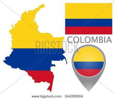 Colorful Flag, Map Pointer And Map Of The Colombia In The Colors Of The Colombian Flag. High Detail.