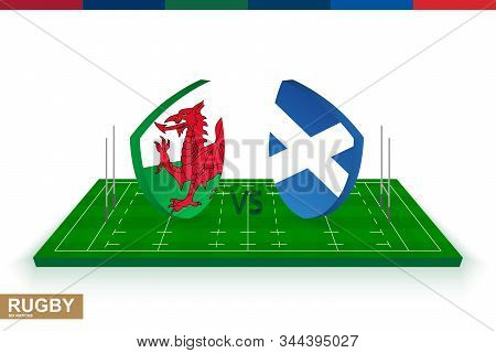 Rugby Team Wales Vs Scotland On Green Rugby Field, Wales And Scotland Team In Rugby Championship.
