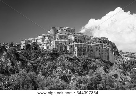 Oriolo, Cosenza, Calabria, Italy, In The Valley Of The Ferro River, At Summer. Black And White