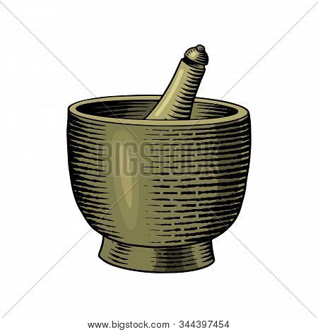Bowl Of Black Pepper In Vintage Style. Mortar And Pestle. Mill And Dried Seeds, A Bunch Of Spices. A