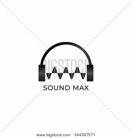 Sound Max Logo, Headphone & Sound Wave Logo Design Concept, Black And White, Audio Logo Design Templ