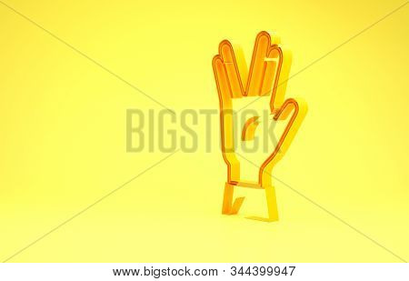 Yellow Vulcan Salute Icon Isolated On Yellow Background. Hand With Vulcan Greet. Spock Symbol. Minim