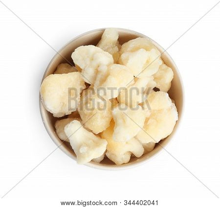 Frozen Cauliflower Florets In Bowl Isolated On White, Top View. Vegetable Preservation