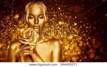 Gold Skin Body Art, Golden Woman Beauty Portrait With Flower, Fashion Bodyart Make Up