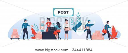 Mail Service. Shipping And Delivery Department Banner With Cartoon Postman Characters And Parcels. V