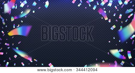 Neon Foil. Glitter Metal Foil Effect, Hologram Iridescent Confetti With Pink And Blue Neon Light. Ve