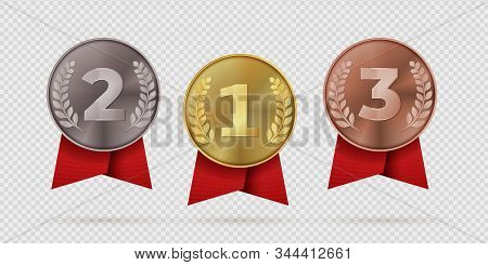Gold, Silver, Bronze Champion Medal With Red Ribbon. First, Second, Third Placement Achievement Bage