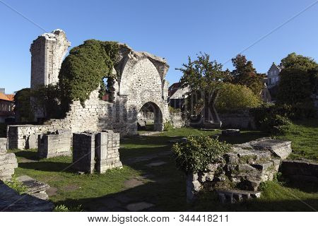 Visby, Sweden On October 12. Street View Of Stone Buildings On October 12, 2019 In Visby, Sweden. S:
