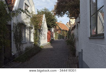 Visby, Sweden On October 12. Street View Of Buildings During The Autumn On October 12, 2019 In Visby