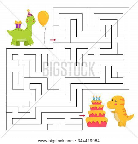 Help The Brachiosaurus Dinosaur Find Path To T-rex Birthday Party. Maze Game For Children. Kawaii Ca