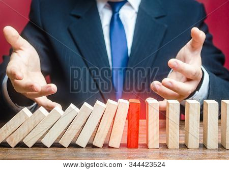 Businessman Is Surprised By Stop Of Work Process. Efficient Reliable Method. Unreliable, Vulnerable.