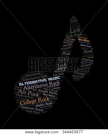 Alternative Music Word Cloud Graphic In A Musical Note Shape.  Subgenres Are: Collge Rock, New Wave,